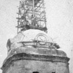Construcción del monumento al Sagrado Corazón en 1930.