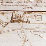 Primera imagen conocida de la parroquia de La Asunción, en el mapa del Catastro del Marqués de la Ensenada (1752).
