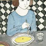 She eats soup.