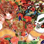 「はなさかむすめ」舞えや集えや今宵は宴、あのこえがけば世界は彩る、西へ東へ梅がこぼれるこれは春の宴なり。
