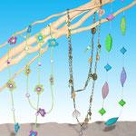 Sautoirs (crochet, fimo et perles)  pour magazine féminin