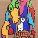 Un totem d'écorces à la manière de Gaston Chaissac