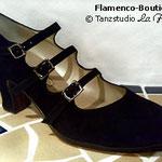 Flamenco-Tanzschuh (Herst.: B. Cervera / Modell: TRES CORREAS in Wildleder)
