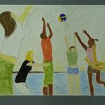 Menschen in Bewegung, , Michaela Semela, Pastellkreide auf Papier, 2014