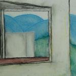 """""""Leerer Raum"""" nach Edward Hopper, Pastellkriede auf Papier, 5Cn, 2015/16"""