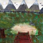 """Frei nach Bildbeschreibung """"vier Mädchen auf der Brücke"""" von E. Munch, 2014"""