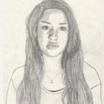 Selbstporträt, Bleistift auf Papier, 6Bb 2013/14_ Kathi