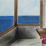 """""""Leerer Raum"""" nach John Register, Pastellkriede auf Papier, 5Cn, 2015/16"""