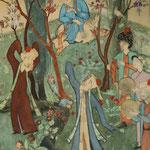 Copie contemporaine d'une miniature du XVème représentant une fête champêtre. Musée d'Archéologie et des Beaux-Arts de Samarcande (photo : C.Ollagnier, 2008)