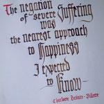 Practicando el cambio de escalas en la letra gótica. Una cita de Villete, de Charlotte Brönte, una de mis autoras favoritas.