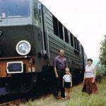 SU46-037 w obsłudze linii Mysłakowice - Kamienna Góra w okolicy Kowar ok. 1980 r. Foto. ze zbioru B. Sosnowskiego.