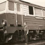Lokomotywownia Rzepin ok.1983, SU46-38 na torze postojowym lokomotywownia Rzepin SU46-38 maszynista Banach Roman ze zb. M.Wilczyńskiego