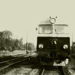 Lokomotywownia Rzepin SU46-38 na torze postojowym lokomotywownia Rzepinok. 1983, SU46-38 maszynista Banach Roman ze zb. M.Wilczyńskiego