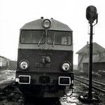 SU46-019 w ok. Węgliniec oczekuje na pociąg powrotny ok.1986r, ze zbiorów Eugeniusza Krysy
