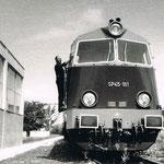 SP45-181 w lok. Szczecin Wzg. Het. oczekuje na poc. 8616 ok. 1977, ze zb. Cz. Zabója