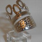 925 Silber / Gold leicht eingehämmert VERKAUFT