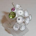 925 Silber / Peridot & Rhodolith