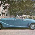 Hispano-Suiza 68bis uit 1934, 11,3 liter, V12, 250 pk met een carrosserie van Saoutchik. Oorspronkelijk was deze motor ontwikkeld uit een J12 motor met een langere slag voor de autorail van de Franse spoorwegen.