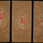 "Three Ballerinas / Thois bellerines---2004---(3) 8"" x 24""---SOLD/VENDU"
