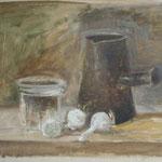étude d'après Chardin, huile sur carton