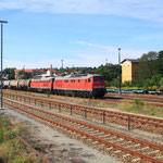 Schotterleerzug in Kamenz mit 232 255 und 232 254