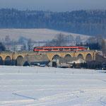 Zweite Fahrt des Tages auf dem Colmnitzer Viadukt