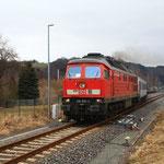 232 635 bei der Ausfahrt aus dem Bhf. Pockau-Lengefeld