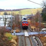 232 635 bei der Einfahrt in den Bhf. Pockau-Lengefeld