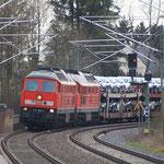 232 668 und 347 mit vollem Autozug in Limbach gen Zwickau