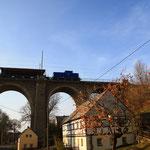 Pause des Schotterzuges direkt auf dem Colmnitzer Viadukt von der anderern Seite