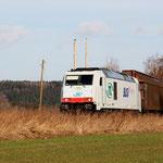 285 108 auf der Anschlussbahn kurz vor dem Abzweig Berthelsdorf