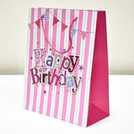 арт. SR076-C2 Пакет для подарков С Днём Рождения Флажки с блёстками розовый 32*26*12 см. Оптовая цена 65 руб.