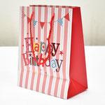 арт. SR076-B1 Пакет для подарков С Днём Рождения Флажки с блёстками красный 23*18*10 см. Оптовая цена 45 руб.