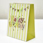 арт. SR076-D1 Пакет для подарков С Днём Рождения Флажки с блёстками салатовый 23*18*10 см. Оптовая цена 45 руб.