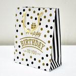 арт. SR067-B2 Пакет для подарков С Днём Рождения Конфетти белый с блёстками 32*26*12 см. Оптовая цена 65 руб.