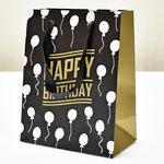 арт. SR067-C1 Пакет для подарков С Днём Рождения Воздушные шарики чёрный с блёстками 23*18*10 см. Оптовая цена 45 руб.