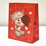 арт. 1362-1L Пакет для подарков Мишка с букетом 26*32*12 см. Оптовая цена 40 руб.