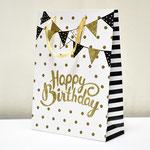 арт. SR067-A3 Пакет для подарков С Днём Рождения Флажки белый с блёстками 40*30*12 см. Оптовая цена 75 руб.