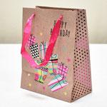арт. SR068-D1 Пакет для подарков С Днём Рождения Подарки крафт 23*18*10 см. Оптовая цена 45 руб.