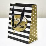 арт. SR067-D1 Пакет для подарков С Днём Рождения Звезды чёрный с блёстками 23*18*10 см. Оптовая цена 45 руб.