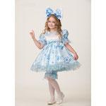 Детский карнавальный костюм Мальвина сказочная, рост 110 см, размер 28, арт. 50933. Комплект: платье, панталоны, бант, парик. Цена: 1829 руб.