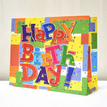 арт. 1517-3ХXL Пакет для подарков Яркий день рождения с глиттером 50*40*15 см. Оптовая цена 110 руб.