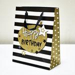 арт. SR067-D2 Пакет для подарков С Днём Рождения Звезды чёрный с блёстками 32*26*12 см. Оптовая цена 65 руб.
