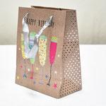 арт. SR068-B1 Пакет для подарков С Днём Рождения Бокалы 23*18*10 см. Оптовая цена 45 руб.