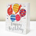 арт. SR072-D2 Пакет для подарков С Днём Рождения Воздушные шарики с блёстками белый 32*26*12 см. Оптовая цена 65 руб.