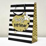 арт. SR067-D3 Пакет для подарков С Днём Рождения Звезды чёрный с блёстками 40*30*12 см. Оптовая цена 75 руб.