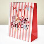 арт. SR076-B2 Пакет для подарков С Днём Рождения Флажки с блёстками красный 32*26*12 см. Оптовая цена 65 руб.