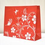 арт. 1304-2XXL Пакет для подарков Цветы и бабочки Красный 50*40*16 см. Оптовая цена 110 руб.