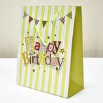 арт. SR076-D2 Пакет для подарков С Днём Рождения Флажки с блёстками салатовый 32*26*12 см. Оптовая цена 65 руб.
