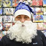 Колпак Деда Мороза с бородой Снежинки синий. Стоимость 319 руб.